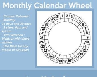 Circular Calendar - Calendar Wheel - Blank - Size 6cm and 4,5 cm