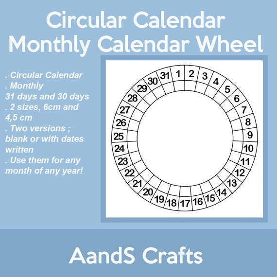 Calendar Wheel Bullet Journal : Circular calendar wheel blank size cm and