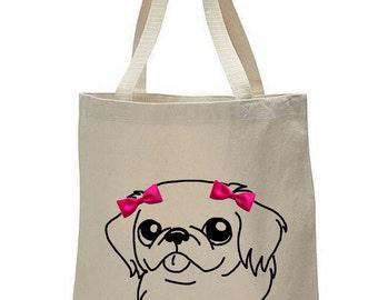 Dogs & Bow Ties: Pekingese Canvas Tote Bag