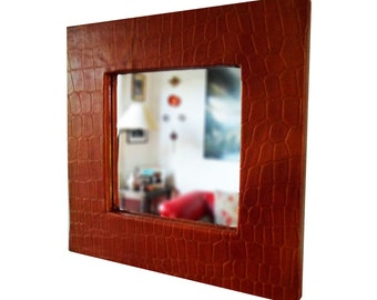 Square leather Natural beef wrought color whiskey mirror