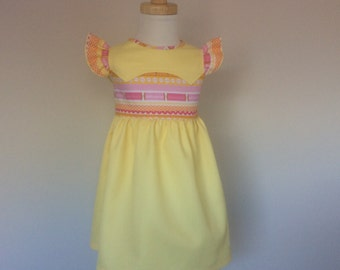 Girls Dress - Size 2, Girls Ruffle Sleeve Dress, Girls Yellow Dress, Yoke Dress, Summer Dress, Cotton Dress, Flutter Sleeve Dress, Sundress