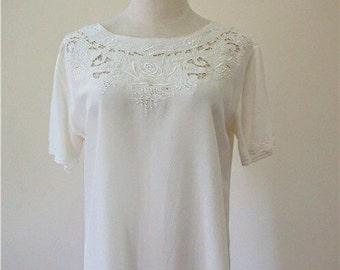 NOS unused vintage hand embroidered silk blouse/top, pure silk/100% silk, Wedding Top
