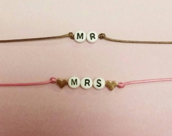 Custom made Mr and Mrs bracelets