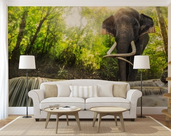 elephant wallpaper etsy. Black Bedroom Furniture Sets. Home Design Ideas