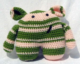Crochet Amigurumi Monstie Monster, Stuffed Animal, Pink and Green Plushie, Handmade Soft Toy Monster with Snap On Safety Eyes