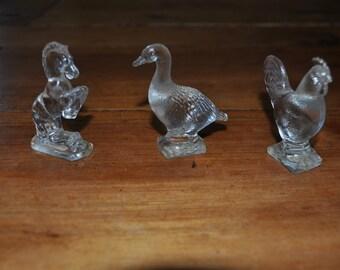 Three Glass Animal Figurines