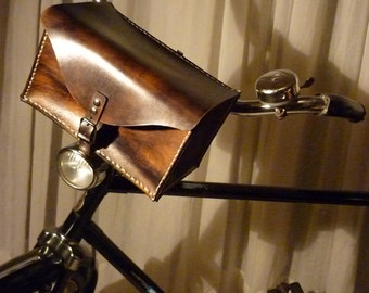 Handmade leather bicycle handlebar bag