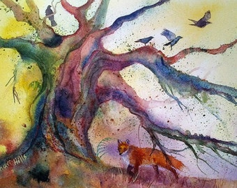 Original watercolour painting of fox and tree
