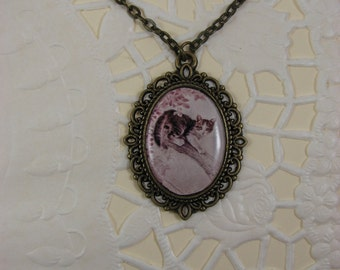 Cat necklace - Cat jewelry - Kitty pendant - Vintage style necklace – Pink necklace - Animal pendant - Animal jewelry (P008)