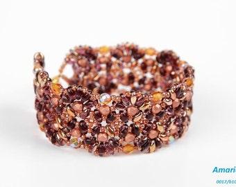 Handmade Beaded Unique Bracelet,Super Duo,Fire Polish,Ametyst,Topaz,Copper,Gold