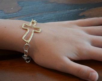 Mixed Metals Cross Bracelet