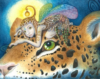 Jaguar Journey, Watercolor Giclee Canvas prints, fairy pixie fantasy art steampunk night feline mystical surrealism