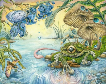 "Frog's Eye View 16"" x 21"" Original Watercolour Paintings by Zoey Ennenberg, frogs, water, fish eyed, mushroom, marshland, nature, realism"
