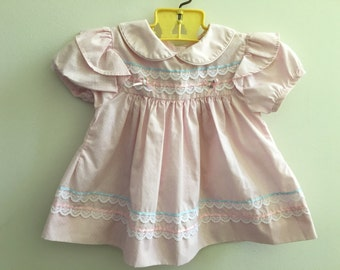 Vintage Pink Swissdot Baby Girl Dress 3-6 Months