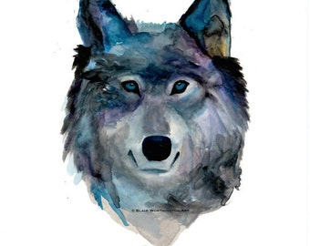 Wolf Face Watercolor Giclee Print