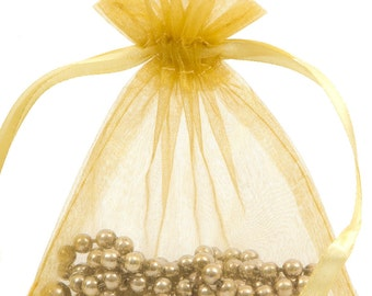 100 Gold Organza Gift Pouch Wedding Favour Bag Jewellery Pouch- 6 Sizes