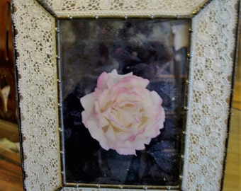 Metal (Solder) and Glass Frame with Lace