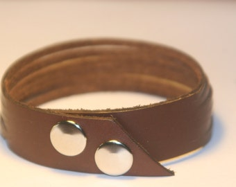 Dark Brown Six Strand Leather Bracelet