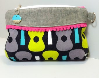 Groovy Guitar Clutch, Zipper Pouch, Makeup Bag, Writstlet with Bright Accents