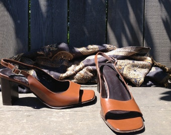 "Sandals, Coach slingbacks. Open toe with a 3"" heel, size 6 1/2B"
