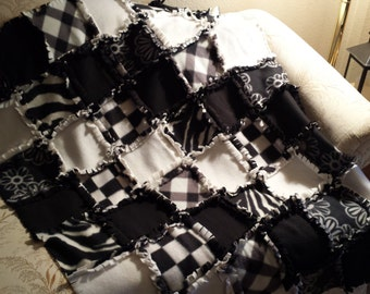 Black, Gray, and White Rag Lap Quilt