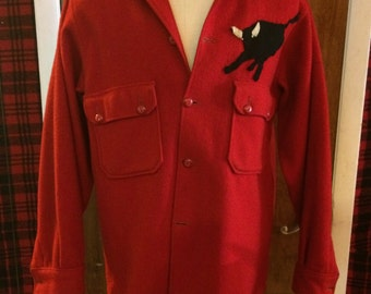 Red Wool Light Jacket with Bull Decal