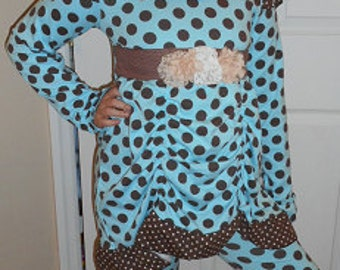 Girls boutique ruffle pants and tunic outfit - sizes 10