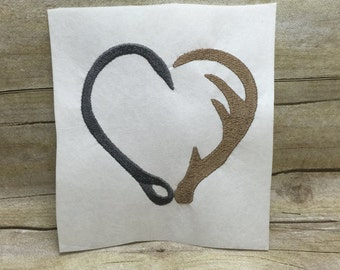 Fish Hook and Deer Antler Heart Embroidery Design, Country Heart Embroidery Design