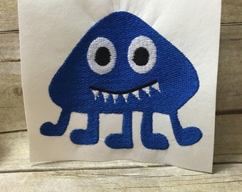Monster With Feet Embroidery Design, Kids Monster Embroidery Design