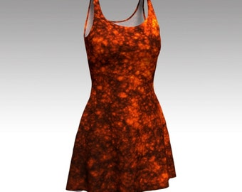 Lava Dress, Molten Lava Dress, Orange Dress, Flare Dress, Skater Dress, Bodycon Dress, Fitted Dress, Sun Dress, Fiery Dress, Fire Dress, Hot