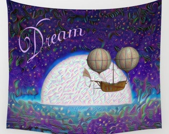Fantasy Tapestry, Moon Tapestry, Dorm Decor, College Decor, Dream Tapestry, Fantasy Wall Hanging, Moon Wall Hanging, Dream Wall Hanging, Art