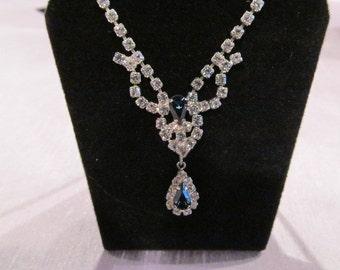 Vintage rhinestone blue necklace, Wedding jewelry, bridal necklace, vintage bridal, something blue, something old