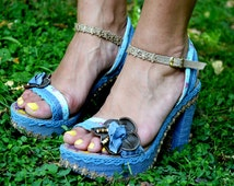 Handmade women's Platforms high heels in jean color with leather flower, painted by hand ,shoes for woman, greek summer chic sandals shoes