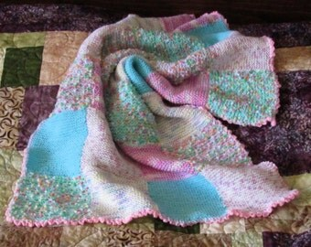 Pink, Purple, & Blue Knit Patchwork Baby Blanket