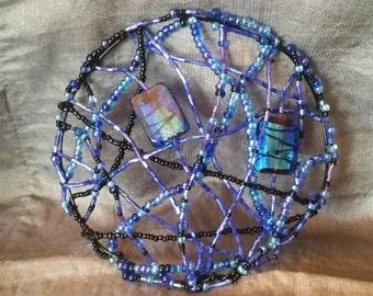 Large, Blue Art Glass, Beaded Kippah, yarmulke