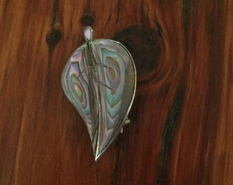 Vintage Sterling Abalone Leaf Brooch Signed Cuernavaca Mexico pin