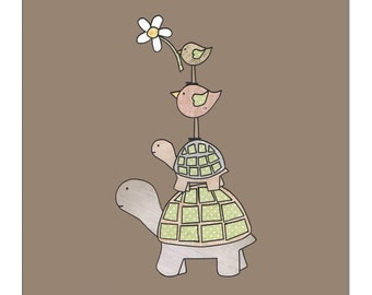 Tortoise and Bird, Tortoise Card, Tortoises, Flowers, Just for you