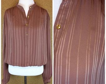 VintageBohemian Blouse with Gathered Sleeves and Waist