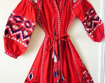 Hand Made To Order MAXI Red Vyshyvanka Dress Vintage Hippy Floral Embroidery Belted Tunic