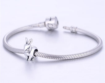 Bunny Rabbit Charm - 925 Sterling Silver - Gift Packed
