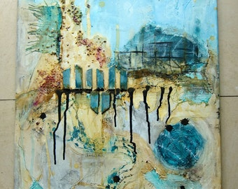 Acrylic painting canvas 70 x 50 x 1.7 collage structures landscape painting