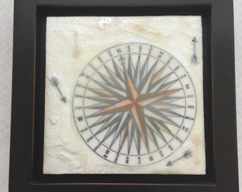 Finding my direction in life. Encaustic beeswax painting, original painting