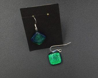 Green Dichroic Glass Earrings