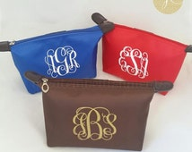 Personalized Cosmetic Bag, Monogram Cosmetic Bag, Bridesmaid Gift, Teacher Gift, Gifts for Brides,  Bridal Party, Wedding Cosmetic Bag
