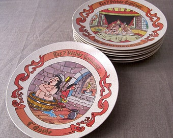 """7 """"the 7 deadly sins"""" humorous decorative plates plastic signed Claude Turier.made in france.francais Vintage"""
