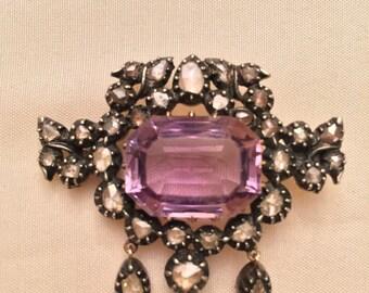 Rare Antique 16 Carat Amethyst 14K Gold/Silver Pin With 33 Rose Cut Diamonds