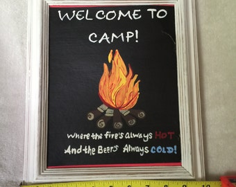 Welcome to Camp Fire framed art