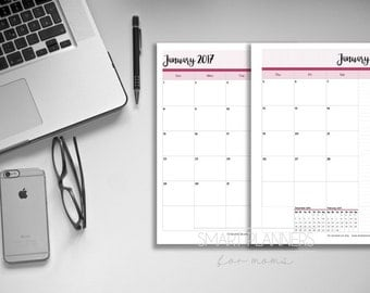 Printable 2017 Calendar, 2 Pages. A4 Size, Portrait, double sided. Includes cover. Instant download. PDF format. High resolution 300 dpi.