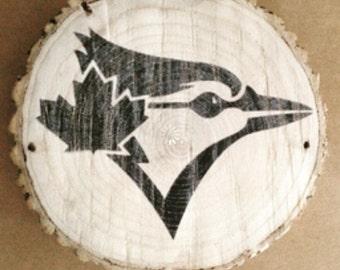 Blue jays decor/log slices/ baseball