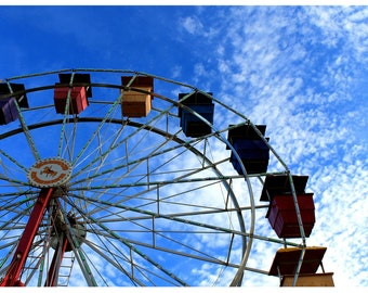 Ferris Wheel, County Fair Carnival Midway - Color Photographic Print - Carnival Ride, Blue Sky Clouds, Vintage Carnival Rides, Virginia